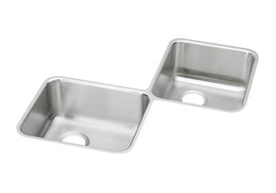 "Image for Elkay Lustertone Stainless Steel 32"" x 32"" x 7-7/8"", Equal Double Bowl Corner Sink from ELKAY"
