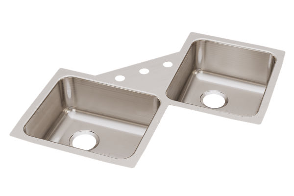 "Elkay Lustertone Classic Stainless Steel 32"" x 32"" x 7-7/8"", Equal Double Bowl Corner Sink"