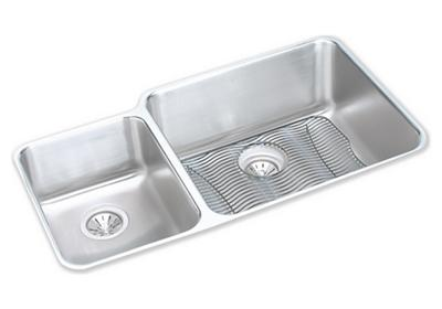 "Image for Elkay Lustertone Stainless Steel 35-1/4"" x 20-1/2"" x 9-7/8"", Offset 40/60 Double Bowl Undermount Sink Kit from ELKAY"