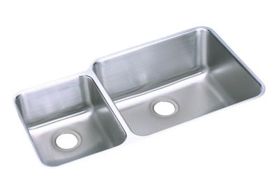 "Image for Elkay Lustertone Stainless Steel 35-1/4"" x 20-1/2"" x 9-7/8"", Offset 40/60 Double Bowl Undermount Sink from ELKAY"
