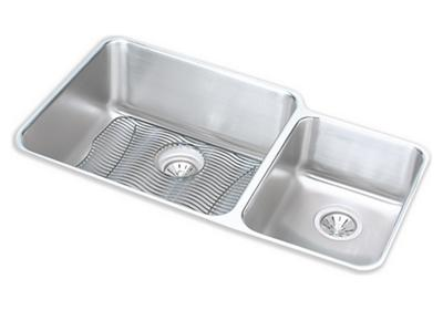 "Image for Elkay Lustertone Stainless Steel 35-1/4"" x 20-1/2"" x 9-7/8"", Offset 60/40 Double Bowl Undermount Sink Kit from ELKAY"