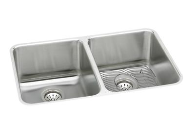 "Image for Elkay Lustertone Stainless Steel 35-3/4"" x 18-1/2"" x 10"", Equal Double Bowl Undermount Sink Kit from ELKAY"