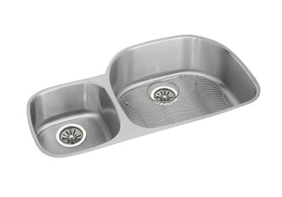 "Image for Elkay Lustertone Classic Stainless Steel 36-1/4"" x 21-1/8"" x 10"", Offset 40/60 Double Bowl Undermount Sink Kit from ELKAY"