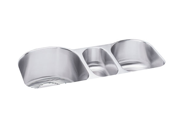 "Elkay Lustertone Classic Stainless Steel 39-1/2"" x 20"" x 10"", Triple Bowl Undermount Sink Kit"