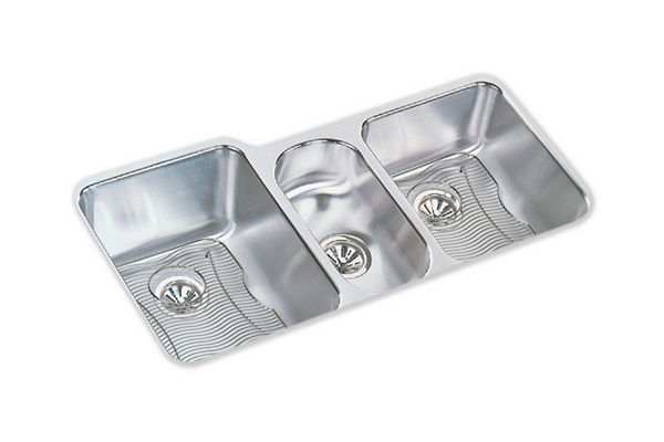 "Elkay Lustertone Classic Stainless Steel 40"" x 20-1/2"" x 9-7/8"", Triple Bowl Undermount Sink Kit"