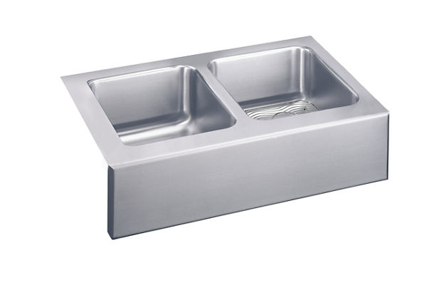 "Elkay Lustertone Stainless Steel 33"" x 20-1/2"" x 10"", Equal Double Bowl Apron Front Sink Kit"