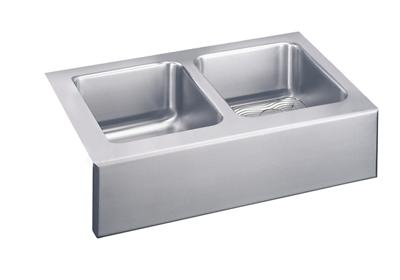 "Image for Elkay Lustertone Stainless Steel 33"" x 20-1/2"" x 10"", Equal Double Bowl Apron Front Sink Kit from ELKAY"