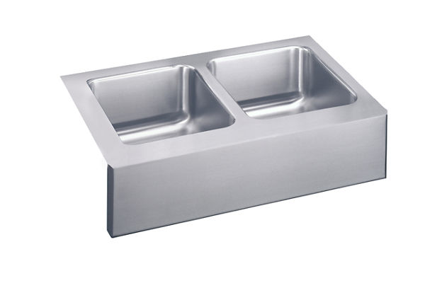 "Elkay Lustertone Stainless Steel 33"" x 20-1/2"" x 10"", Equal Double Bowl Apron Front Sink"