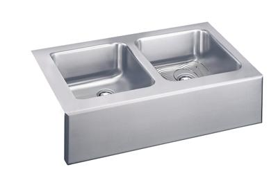 "Image for Elkay Lustertone Stainless Steel 33"" x 20-1/2"" x 7-7/8"", Equal Double Bowl Apron Front Sink Kit from ELKAY"