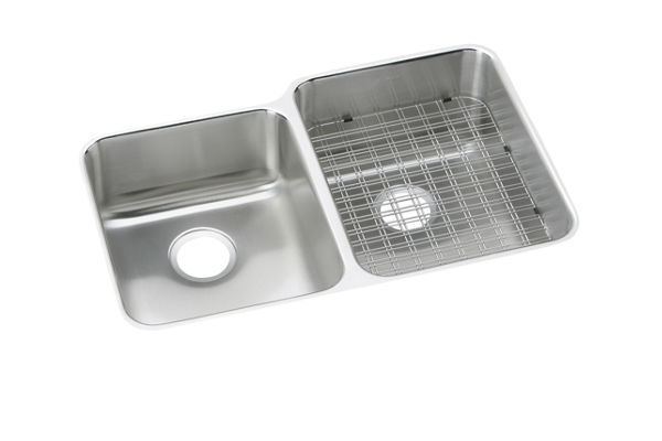 "Elkay Gourmet Stainless Steel 31-1/4"" x 20-1/2"" x 9-7/8"", Offset Double Bowl Undermount Sink"