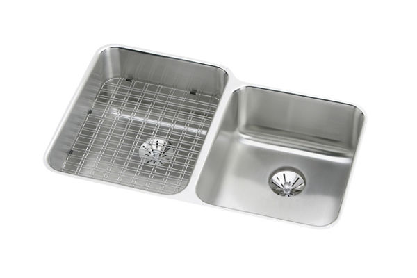 "Elkay Gourmet Stainless Steel 31-1/4"" x 20-1/2"" x 9-7/8"", Offset Double Bowl Undermount Sink with Perfect Drain"
