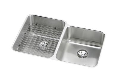 "Image for Elkay Gourmet Stainless Steel 31-1/4"" x 20-1/2"" x 9-7/8"", Offset Double Bowl Undermount Sink with Perfect Drain from ELKAY"