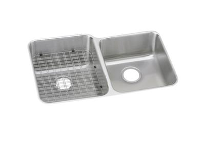 "Image for Elkay Gourmet Stainless Steel 31-1/4"" x 20-1/2"" x 9-7/8"", Offset Double Bowl Undermount Sink from ELKAY"