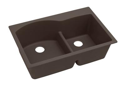 "Image for Elkay Quartz Luxe 33"" x 22"" x 10"", Offset 60/40 Double Bowl Top Mount Sink with Aqua Divide, Chestnut from ELKAY"