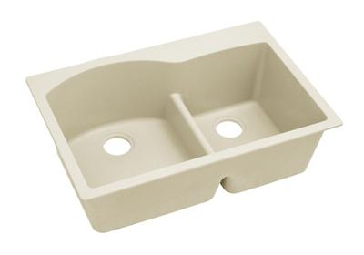 "Image for Elkay Quartz Luxe 33"" x 22"" x 10"", Offset 60/40 Double Bowl Drop-in Sink with Aqua Divide, Parchment from ELKAY"