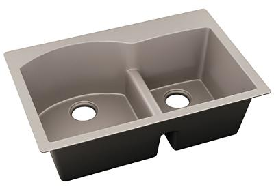 "Image for Elkay Quartz Luxe 33"" x 22"" x 10"", Offset 60/40 Double Bowl Drop-in Sink with Aqua Divide, Silvermist from ELKAY"