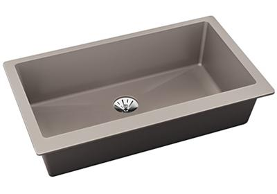 "Image for Elkay Quartz Luxe 35-7/8"" x 19"" x 9"" Single Bowl Undermount Kitchen Sink with Perfect Drain, Silvermist from ELKAY"