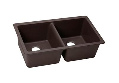 "Image for Elkay Quartz Luxe 33"" x 18-1/2"" x 9-1/2"", Equal Double Bowl Undermount Sink, Chestnut from ELKAY"