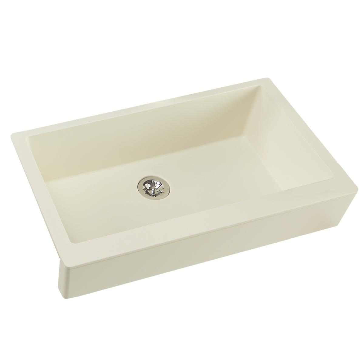 "Elkay Quartz Luxe 35-7/8"" X 20-15/16"" X 9"" Single Bowl Farmhouse Sink With Perfect Drain, Parchment"