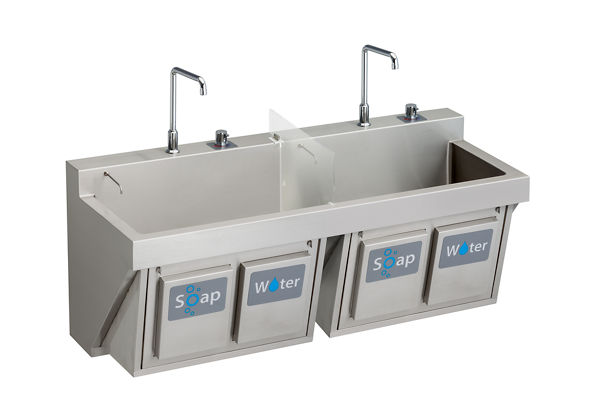 "Elkay Stainless Steel 60"" x 23"" x 26"", Wall Hung Double Station Surgeon Scrub Sink Kit"