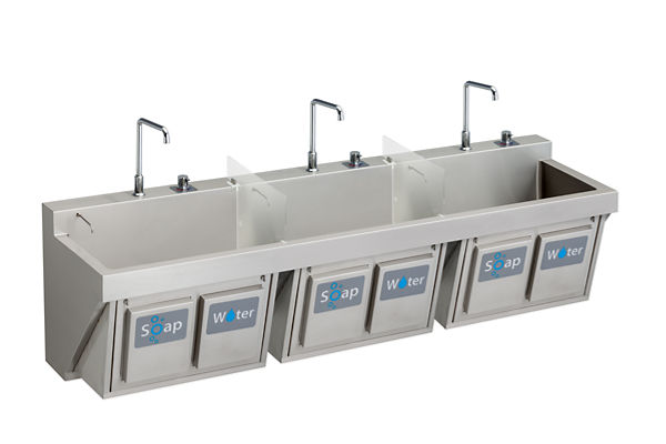 "Elkay Stainless Steel 60"" x 23"" x 26"", Wall Hung Triple Station Surgeon Scrub Sink Kit"