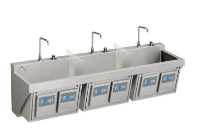 "Image for Elkay Stainless Steel 60"" x 23"" x 26"", Wall Hung Triple Station Surgeon Scrub Sink Kit from ELKAY"