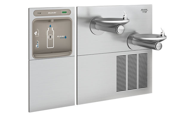 Elkay EZH2O Bottle Filling Station & SwirlFlo Bi-Level Fountain, High Efficiency Non-Filtered 8 GPH Stainless