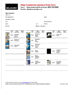 2013 Foodservice Literature Order Form (F-4488)
