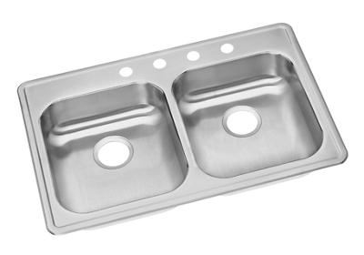 "Image for Dayton Stainless Steel 33"" x 22"" x 5-3/8"", Equal Double Bowl Top Mount Sink from ELKAY"