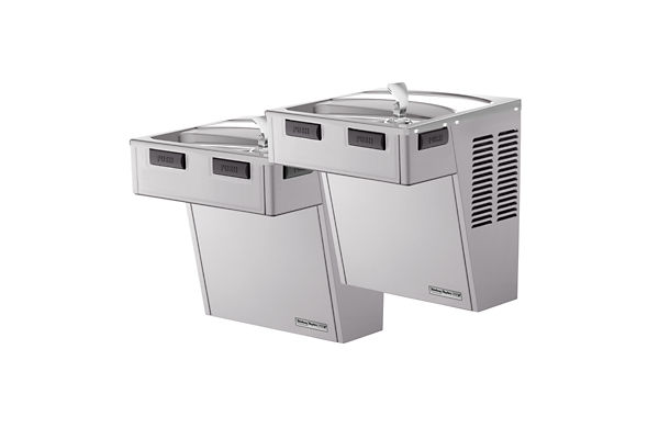 Halsey Taylor Wall Mount Bi-Level Reverse ADA Cooler, Non-Filtered 8 GPH Platinum Vinyl