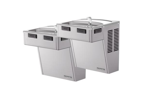 Image for Halsey Taylor Wall Mount Bi-Level Reverse ADA Cooler, Non-Filtered Non-Refrigerated Platinum Vinyl from Halsey Taylor