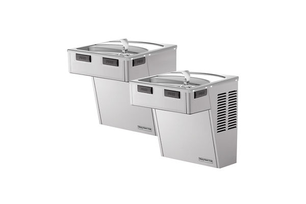 Halsey Taylor Wall Mount Bi-Level ADA Cooler, Filtered 8 GPH Platinum Vinyl