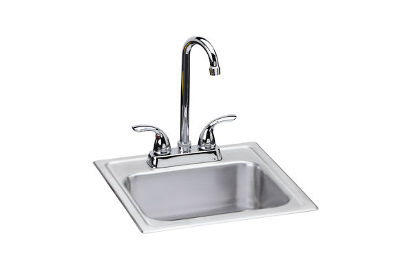 "Dayton Stainless Steel 15"" x 15"" x 6"", Single Bowl Top Mount Bar Sink + Faucet Kit"