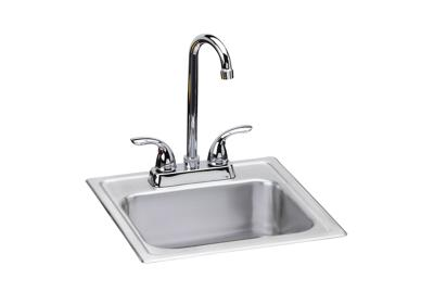 "Image for Dayton Stainless Steel 15"" x 15"" x 6"", Single Bowl Top Mount Bar Sink + Faucet Kit from ELKAY"