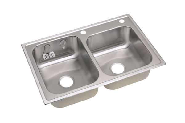 E-dock™ Stainless Steel Double Bowl Top Mount Sink