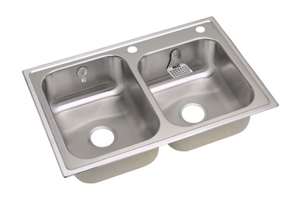 "Elkay Stainless Steel 33"" x 22"" x 8-1/4"", Double Bowl Top Mount Sink Kit"