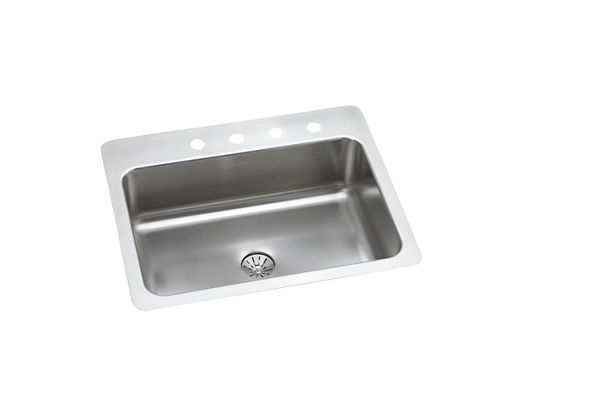 "Elkay Stainless Steel 27"" x 22"" x 8"", Single Bowl Dual Mount Sink with Perfect Drain"