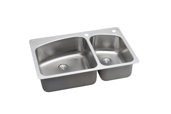 "Elkay Stainless Steel 33"" x 22"" x 8"", 60/40 Double Bowl Dual Mount Sink with Perfect Drain"