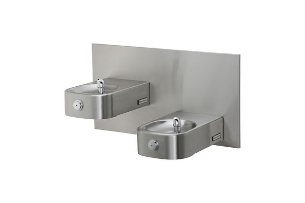 Halsey Taylor Contour Heavy-Duty Bi-Level Fountain, Wall Mount, Non-Filtered, Non-Refrigerated, Freeze Resistant, Stainless