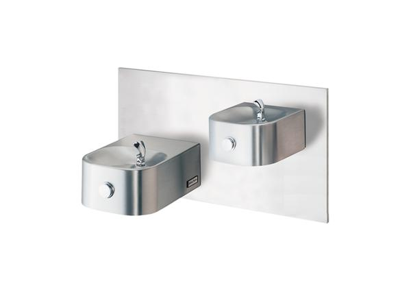 Image for Halsey Taylor Contour Bi-Level Reverse Wall Mount Fountain, Non-Filtered Non-Refrigerated Freeze Resistant Stainless from Halsey Taylor