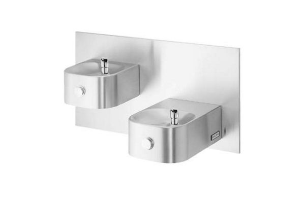Halsey Taylor Contour Bi-Level Fountain, Wall Mount, Non-Filtered, Non-Refrigerated, Freeze Resistant, Stainless