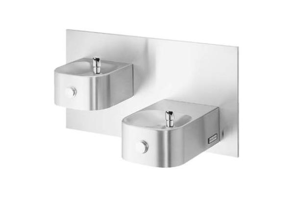 Image for Halsey Taylor Contour Bi-Level Fountain, Wall Mount, Non-Filtered, Non-Refrigerated, Freeze Resistant, Stainless from Halsey Taylor
