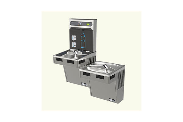 Halsey Taylor HydroBoost Bottle Filling Station, & Bi-Level ADA Cooler, Filtered 8 GPH Platinum Vinyl