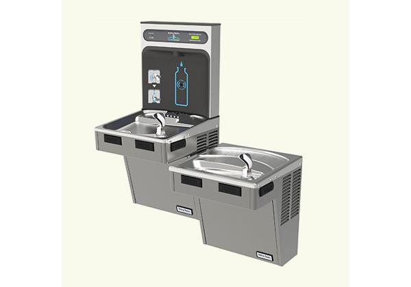 Image for Halsey Taylor HydroBoost Bottle Filling Station, & Bi-Level ADA Cooler, Filtered 8GPH Platinum Vinyl from Halsey Taylor