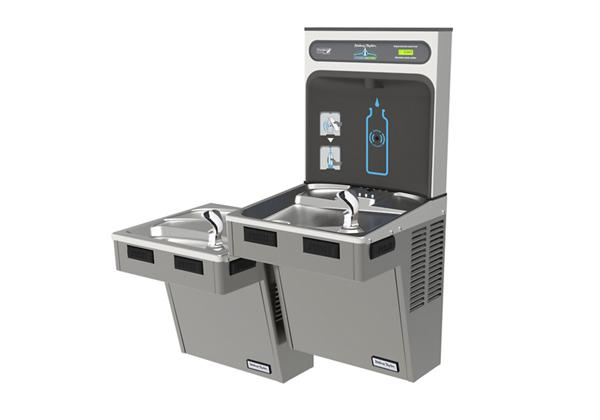 Image for Halsey Taylor HydroBoost Bottle Filling Station, & Bi-Level Reverse ADA Cooler, Non-Filtered 8GPH Platinum Vinyl from Halsey Taylor