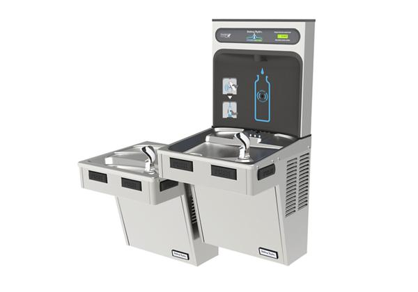 Image for Halsey Taylor HydroBoost Bottle Filling Station, & Bi-Level Reverse ADA Cooler, Non-Filtered 8 GPH Stainless from Halsey Taylor
