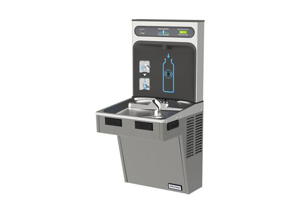 Image for Halsey Taylor HydroBoost Bottle Filling Station & Single ADA Cooler, Filtered 8 GPH Platinum Vinyl from Halsey Taylor