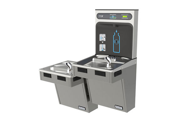 Halsey Taylor HydroBoost Bottle Filling Station & Bi-Level Reverse ADA Cooler, Non-Filtered Non-Refrigerated Platinum Vinyl