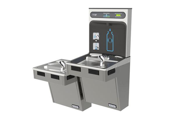 Image for Halsey Taylor HydroBoost Bottle Filling Station, & Bi-Level Reverse ADA Cooler, Non-Filtered Non-Refrigerated Platinum Vinyl from Halsey Taylor