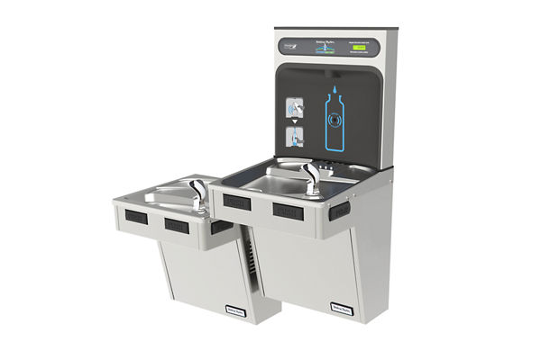 Halsey Taylor HydroBoost Bottle Filling Station & Bi-Level Reverse ADA Cooler, Non-Filtered Non-Refrigerated Stainless